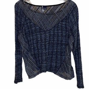 Sparkle & Fade Sweater Cropped Knit Crochet Small